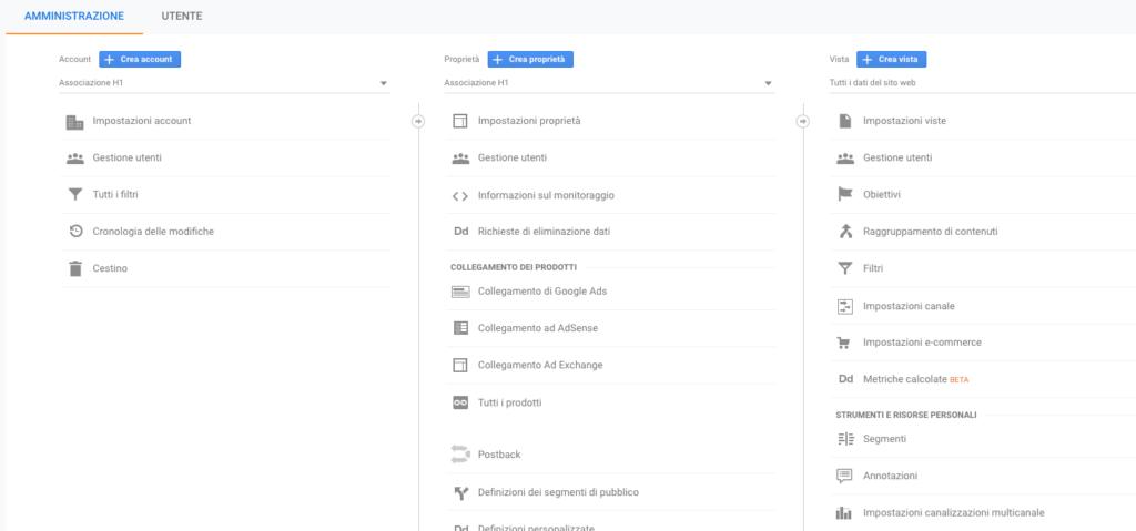 impostazione obiettivi in Google Analytics