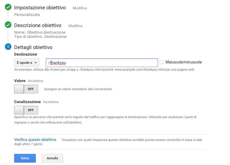 impostazione obiettivo pagina di destinazione in google analytics