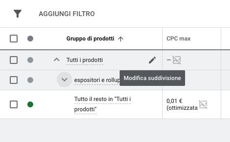 google shopping gruppi di prodotto