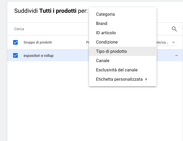 Selezione del product_type nelle campagne Google Shopping